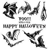 Halloween sketched bats — Vector de stock