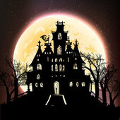 Haunted castle on the moon — Stock Vector