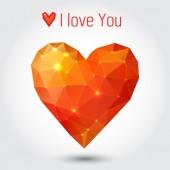Triangle orange heart — Stock Vector