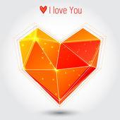 Orange  triangle heart — Stockvektor