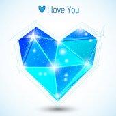 Blue triangle heart — Stockvektor