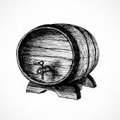 Wine cask sketch — Stock Vector