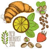 Breakfast sketched set — Stock Vector