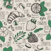 Breakfast sketched seamless pattern — Stock Vector