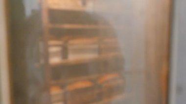 Bröd baka i industriell ugn — Stockvideo