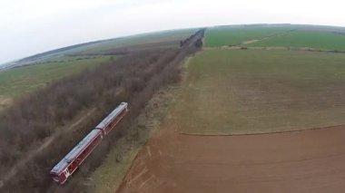 Passenger train aerial follow — Stock Video