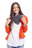 Beautiful young woman snapping fingers, over white background — Stock Photo