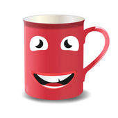 Vector cup with a funny face — Stock Vector