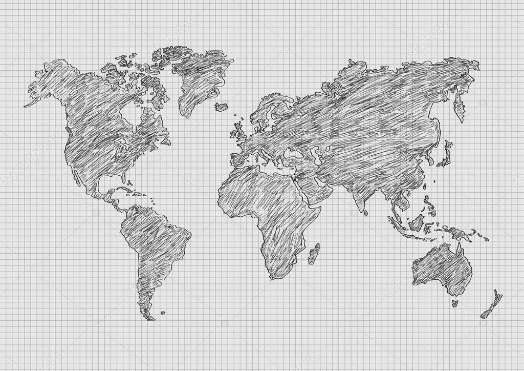 矢量图世界地图铅笔速写