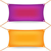 Two colorful purple and orange rectangular textile banners — Stock Vector