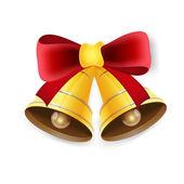 红色蝴蝶结的金色铃铛。矢量插画. — 图库矢量图片