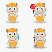 Cat general worker with a shovel, screwdriver sign and spanner in overalls and helmet. Vector set — Stockvector