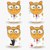 Cat doctor in medical coat and glasses with syringe, a first aid kit and a stereoscope. Vector set — Stock Vector