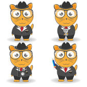 Cat journalist in a suit with a hat and glasses with the camera, a notepad. Vector set — Stock Vector