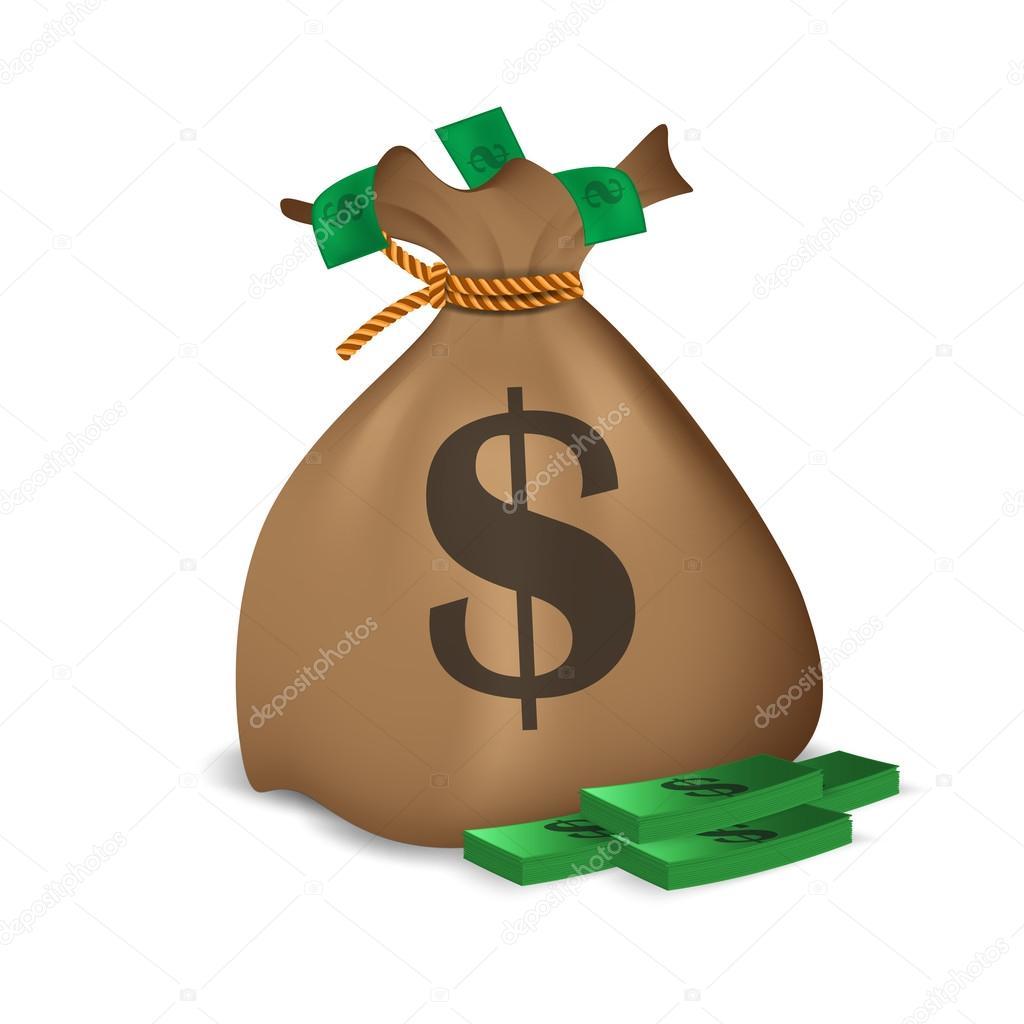 捆绑的钱和钱袋子.矢量图