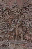 Traditional Thai style old iron statue plate in wat traimitr withayaram. — Stock Photo