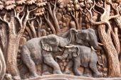Carved wooden elephants. — Stock Photo