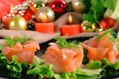 Holiday appetizer with salmon canapes  — Fotografia Stock