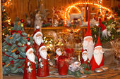 Gifts and toys on Christmas market — Stock Photo