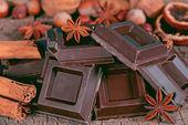 Pieces of dark chocolate  — Stockfoto