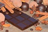 Dark chocolate and truffles — Stock Photo