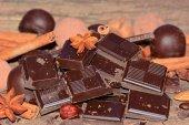 Pieces of dark chocolate  — Stock Photo
