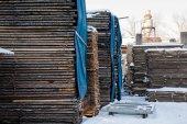 Fábrica de carpintaria, depósito, secagem — Fotografia Stock
