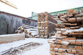 Woodworking factory, warehouse, drying — Stock Photo
