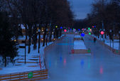 Skating rink in Moscow park — Foto Stock