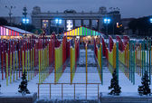 Variegated winter decoration in Moscow central park — Foto Stock