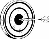 Dart on target for a bulls eye — Stock Vector