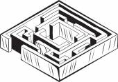 Square labyrinth or maze — Stock Vector
