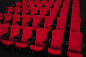 Cinema hall with red chairs — Foto de Stock