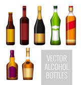 Vector bottles of alcohol — Stock Vector