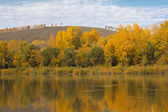 Autumn landscape with river. — Stock Photo