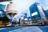 CCTV Camera or surveillance orperating with city building and cr — Stock Photo