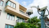 CCTV camera or surveillance operating — Stock Photo