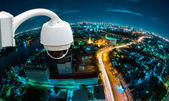 CCTV camera or surveillance with fish eye perspective — Stock Photo