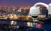 CCTV or surveillance with Blurring City in background — Stock Photo
