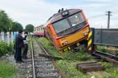 BANGKOK THAILAND - JULY 31, 2014: train acciden fail of track ne — Stock Photo