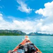 Head of boat with luggauge on beautiful blue ocean — Stock Photo #54479279