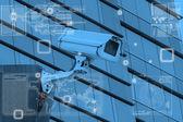 CCTV Camera technology on screen display — Stock Photo