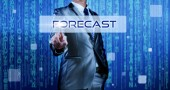 Business man with digital background pressing on button forecast — Stock Photo