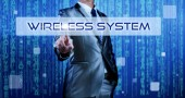 Business man with digital background pressing on button wireless — Stock Photo