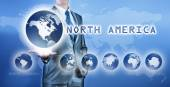 Businessman choosing north america continent on virtual digital  — Stock Photo