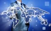 Businessman making decision on business strategy, globalization  — Zdjęcie stockowe