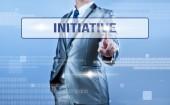 Businessman making decision on initiative — Stock Photo