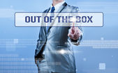 Businessman making decision on out of the box — ストック写真