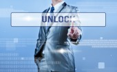 Businessman making decision on unlock — Stock Photo