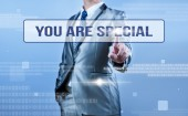 Businessman making decision on quote you are special — Stock Photo